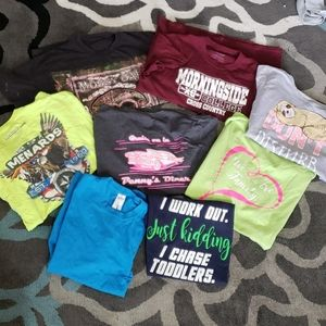 Lot of 8 Womens Large T-Shirts Painting Gardening